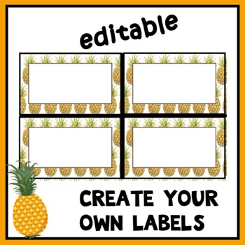Morning Work Tub Labels for Pineapple Classroom Decor EDITABLE