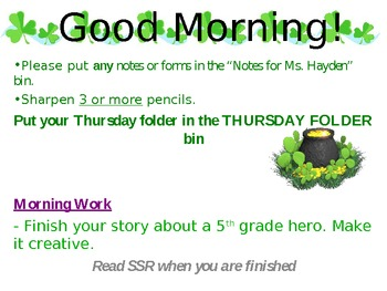 Morning Work PowerPoint slides