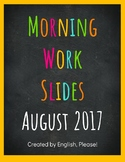 Morning Work Powerpoint and Google Slides--Complete August Set!