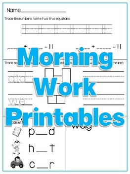 Morning Work Printables