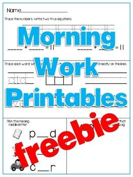 Morning Work Printables {freebie}