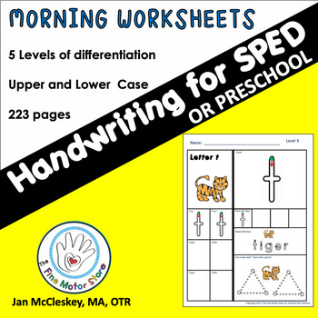 Morning Work SPECIAL ED Handwriting Worksheets with Five Levels