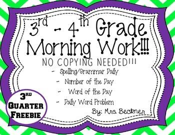 3rd - 4th Morning Work Sample Freebie