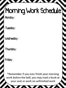 Chevron Morning Work Schedule Poster