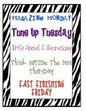 Morning Work Schedule Zebra
