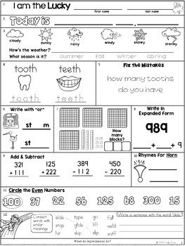 Morning Work: Second Grade March Packet