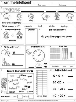 Morning Work: Second Grade October Packet