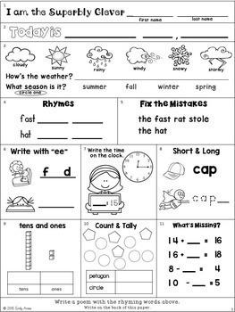 Morning Work: Second Grade September Packet