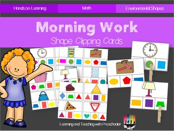 Morning Work Shapes Clipping Cards