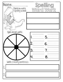 Morning Work: Spelling Word Template
