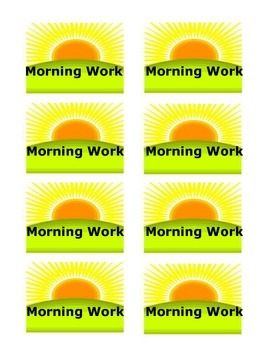 Morning Work Spiral Lables