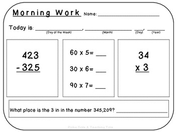 Morning Work: Subtraction, 1x2 Digit Multiplication, Mental Math, Place Value