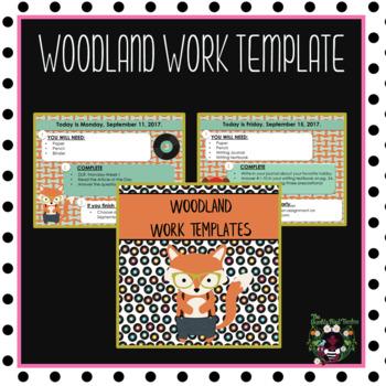 Woodland Animals Morning Work Template