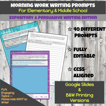 Morning Work / Test Prep - Persuasive & Expository Writing Prompts