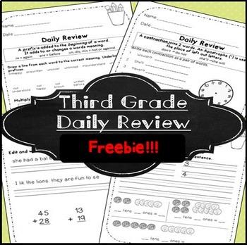 Morning Work! Third Grade ~ Free!~