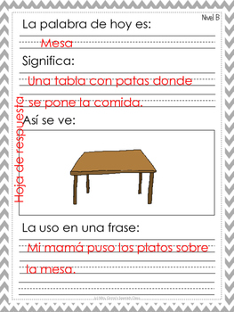 SPANISH Morning Work - Trabajo de la mañana - Wipe and write - First grade