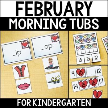 February Morning Work Tubs for Kindergarten