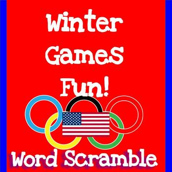 Morning Work:  Winter Olympics 2018 Fun!  Word Scramble
