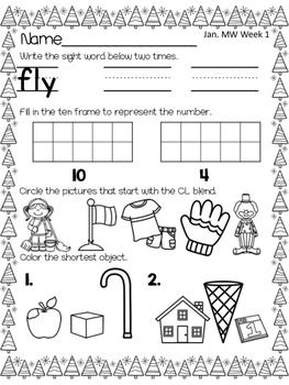 Morning Work 1st Grade - January