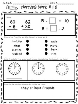 Morning Work for 1st or 2nd Grade - Common Core Aligned