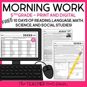 Morning Work for 5th Grade:  Free Week