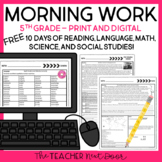 Morning Work for 5th Grade: Free 10 Days Print and Digital Morning Work