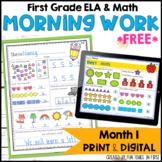 Morning Work  First Grade | Month 1 FREE