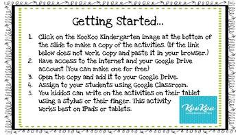 Kindergarten Morning Work for Google Classroom