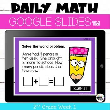 Morning Work for Google™ Classroom 2nd Grade Week 1