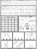 Kindergarten Morning Work 5 Math and ELA pages