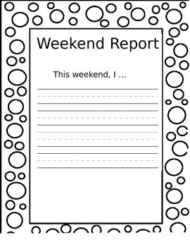 Morning Work for Monday Morning: Weekend Report