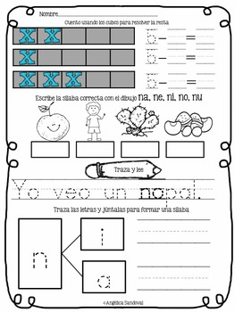 November Kindergarten Morning Work in Spanish Trabajo por la mañana
