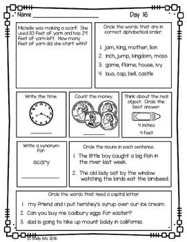 Morning Work For Second Grade Third Quarter By Shelly