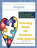 Morning Work or Homework for Students with Autism (August)