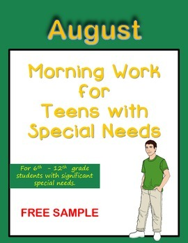 Morning Work for Teens with Special Needs (August & School Activities)