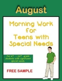 Morning Work for Teens with Special Needs (August & School