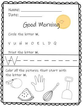 Morning Work for the Alphabet