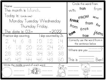 Kindergarten Morning Work March