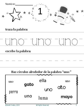 Morning Work in Spanish, Numbers 0-10, 27 activities!