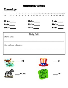 Morning Work (initial sounds, addition/subtraction with regrouping, sentences)
