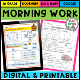 Morning Work First Grade (or Homework): November