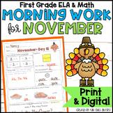 Morning Work or Homework: First Grade (November)