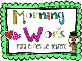 Morning Work para el mes de febrero (SPANISH VERSION)