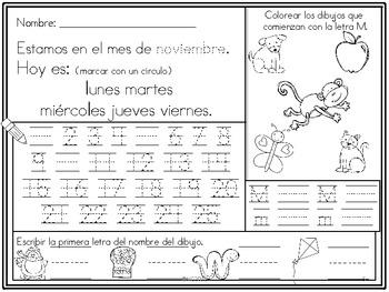Morning Work para el mes de noviembre (SPANISH VERSION)