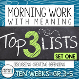 Morning Work with Meaning! Top 3 Lists {Set One}