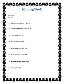Fractions, Decimals, Percents, NS, Prime, Composite, Morning Work