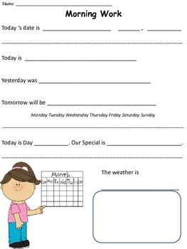 Morning Work/Morning Meeting Worksheets