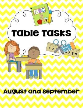 Morning Work/Table Task August and September
