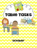 Morning Work/Table Task for October