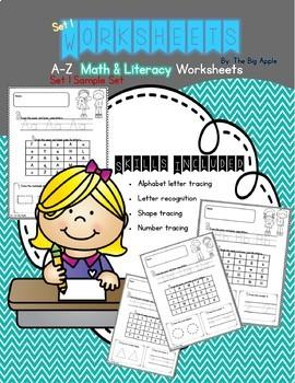 Math & Literacy Worksheets A-Z Set 1 Sample